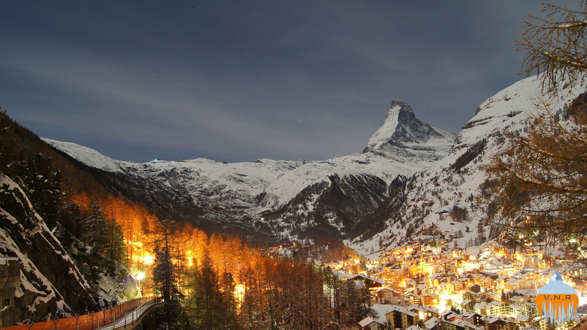 "Zermatt at night with ""burning"" Forest"